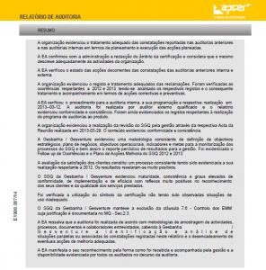 Resumo de Auditoria - Relatório de 2013