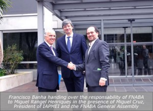 Francisco Banha handing over the responsability of FNABA to Miguel Rangel Henriques in the presence of Miguel Cruz, President of IAPMEI and the FNABA General Assembly